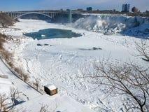 Niagara River with Rainbow Bridge and American Falls Royalty Free Stock Photography