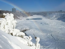 Niagara River with Rainbow Bridge and American Falls Royalty Free Stock Photos