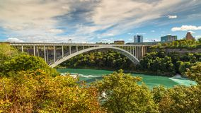 The Niagara River and the rainbow bridge stock photos
