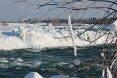 Niagara River in the winter. Niagara River, at Niagara, 27 February 2015, on a sunny day, just before the waterfalls Royalty Free Stock Photo