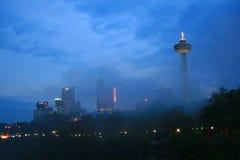 Niagara's City Skyline at Night. The moody night-time city skyline of Niagara Falls Ontario Stock Images