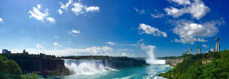 Niagara spada w panoramie strzelającej od Kanada perspektywy Zdjęcie Royalty Free