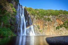 Niagara waterfall. Scenic view of Niagara waterfall with river in foreground, Reunion Island Royalty Free Stock Photography