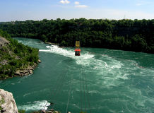 Niagara whirlpool. One of the interesting attraction of the Niagara tourist region is cable car over the whirlpool down under the falls where the river change Stock Photo