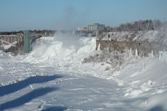 Niagara in the winter. American Falls in the winter, almost completely frozen, 27 February 2015, on a sunny day Stock Photos
