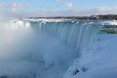 Niagara in the winter. Niagara Falls in the winter,  27 February 2015, on a sunny day, with a trace of rainbow Royalty Free Stock Photo