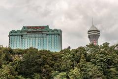 NIAGRA安大略加拿大06 09 2017年尼亚加拉显示各种各样的旅馆和高楼的市地平线 免版税库存图片