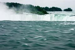 Niagra Falls. View from the high end as the water rushes over royalty free stock photography