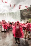 Niagra Falls Canada 06.09.2017 People on the famous Falls boat tour experience is North America`s oldest waterfalls. Attraction royalty free stock photos