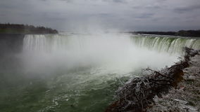 Niagra falls wide view cloudy day. Video of niagra falls wide view cloudy day stock video footage