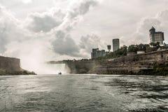 NIAGRA, ONTARIO Canada 06.09.2017 Tourists aboard the Maid of the Mist boat at the Niagara Falls USA stock photos