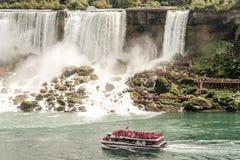 NIAGRA, ONTARIO Canada 06.09.2017 Tourists aboard the Maid of the Mist boat at the Niagara Falls USA stock photo