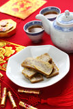 Nian gao, chinese new year rice cake. Pan fried and dipped in egg Stock Photos