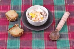 Nian gao dumplings and taro in coconut cream. Royalty Free Stock Image