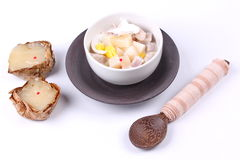 Nian gao dumplings and taro in coconut cream. Stock Photos