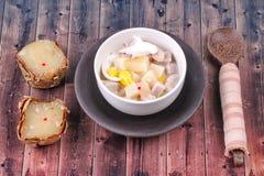 Nian gao dumplings and taro in coconut cream. Royalty Free Stock Photos