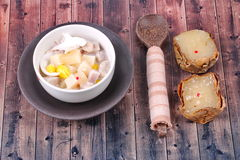 Nian gao dumplings and taro in coconut cream. Stock Photo