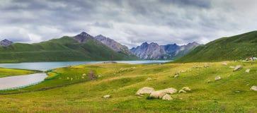 Nianboyuze resort. This is Nianboyuze Fairy Lake scenic panoramas by 6 photo mosaic Stock Photos