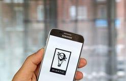 Niantic sur l'écran de Samsung s7 Photographie stock