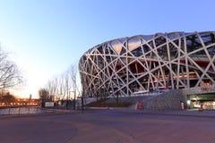 Niao chao stadium sunrise, adobe rgb. Beijing olympic stadium at sunrise, known as the bird`s nest or niaochao Stock Image