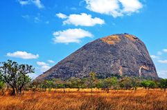Niassa Province Landscape_Northern Mozambique. Much of Niassa Province in Northern Mozambique is dotted with huge granite hills and mountains called Inselbergs Royalty Free Stock Image