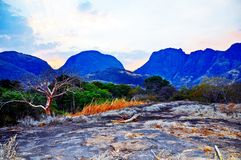 Niassa Province Landscape_Northern Mozambique. Much of Niassa Province in Northern Mozambique is dotted with huge granite hills and mountains called Inselbergs Royalty Free Stock Photo