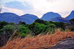 Niassa Province Landscape_Northern Mozambique. Much of Niassa Province in Northern Mozambique is dotted with huge granite hills and mountains called Inselbergs Stock Photos