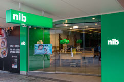 NIB insurance office in central Brisbane, Australia. Brisbane, Australia - July 9, 2017: NIB is Australia`s third largest private health insurance fund. This is stock images