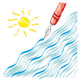 Nib waves and sun Stock Photos