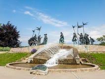 Nibelungendenkmal monument in Tulln, Austria. Nibelungendenkmal monument at the Danube River in Tulln, Austria stock image