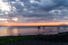 Nicaragua在日落的湖视图 库存图片