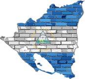 Nicaragua översikt på en tegelstenvägg Royaltyfri Bild