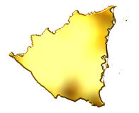 Nicaragua 3d Golden Map. Isolated in white Stock Photography