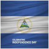 Nicaragua Abstract Waving flag with lettering Celebrating Indepe. Ndence Day. For web design and application interface, also useful for infographics. Vector Stock Photography