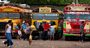 Nicaragua Bus Station. A bus station in Masaya, Nicaragua. The small Central American country, after years of turbulent political struggles, is finally finding a royalty free stock image