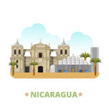 Nicaragua country design template Flat cartoon sty Stock Photography