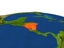 Nicaragua en rojo de la órbita stock de ilustración