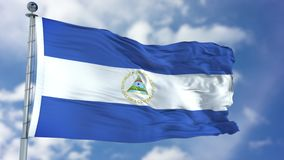 Nicaragua Flag in a Blue Sky. Use this clip loud and proud to express loyalty and love to our country. It is a seamless loop with luma channel royalty free stock photo