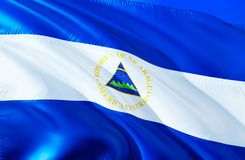 Nicaragua flag. 3D Waving flag design. The national symbol of Nicaragua, 3D rendering. National colors and National South America. Flag of Nicaragua for a royalty free stock images