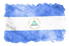 Nicaragua flag is depicted in liquid watercolor style isolated on white background. Careless paint shading with image of national flag. Independence Day banner royalty free stock photos