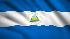 Nicaragua flag Motion video waving in wind. Flag Closeup 1080p HD  footage stock illustration