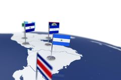 Nicaragua flag. Country flag with chrome flagpole on the world map with neighbors countries borders. 3d illustration rendering flag royalty free illustration