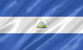 Nicaragua Flag. With waving on satin texture vector illustration