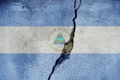 Nicaragua FLAG PAINTED ON CRACKED WALL NICE. Nicaragua FLAG PAINTED ON CRACKED WALL stock photography