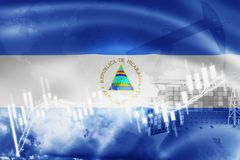 Nicaragua flag, stock market, exchange economy and Trade, oil production, container ship in export and import business and. Logistics, america, background stock illustration