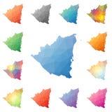 Nicaragua geometric polygonal, mosaic style maps. royalty free illustration
