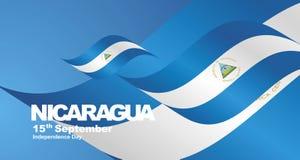 Nicaragua Independence Day flag ribbon landscape background. National symbol landmark banner vector stock illustration