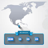Nicaragua info card. Nicaragua on the map of North America with flags Stock Photos