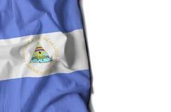Nicaragua knitterte Flagge, Raum für Text Stockfotografie