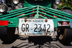 Nicaragua license plate on the front of a tracto Stock Images